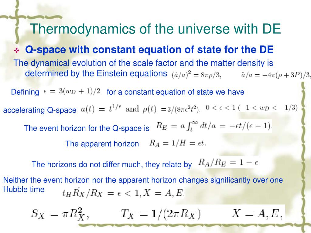 Thermodynamics of the universe with DE