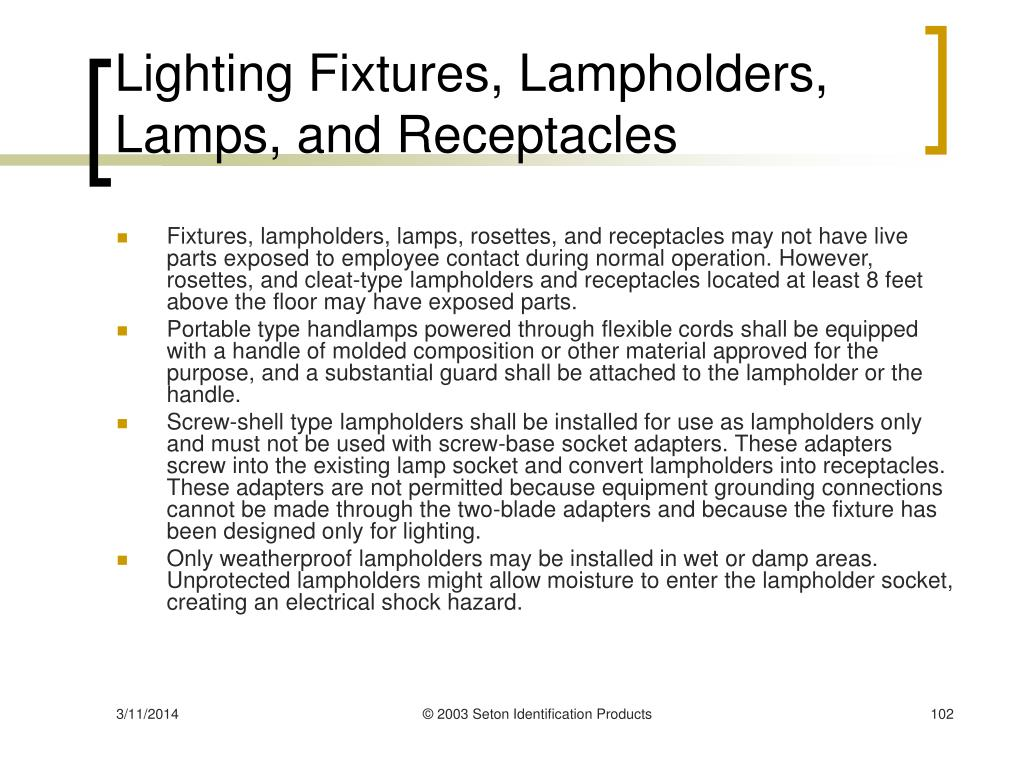 Lighting Fixtures, Lampholders, Lamps, and Receptacles