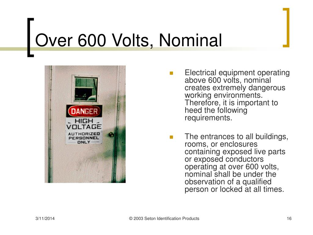 Over 600 Volts, Nominal
