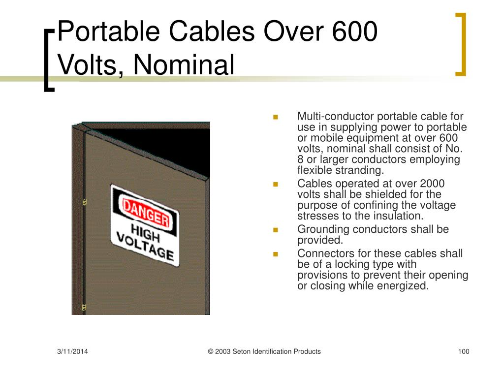 Portable Cables Over 600 Volts, Nominal