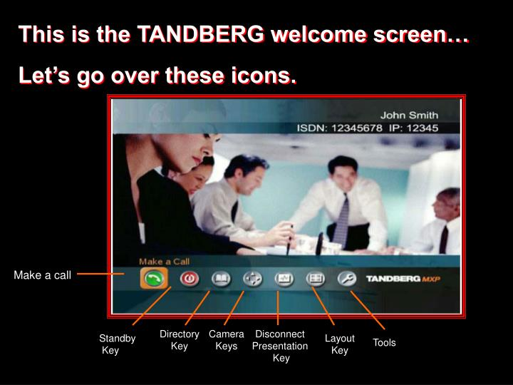 This is the TANDBERG welcome screen…