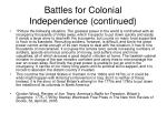 battles for colonial independence continued