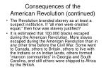 consequences of the american revolution continued