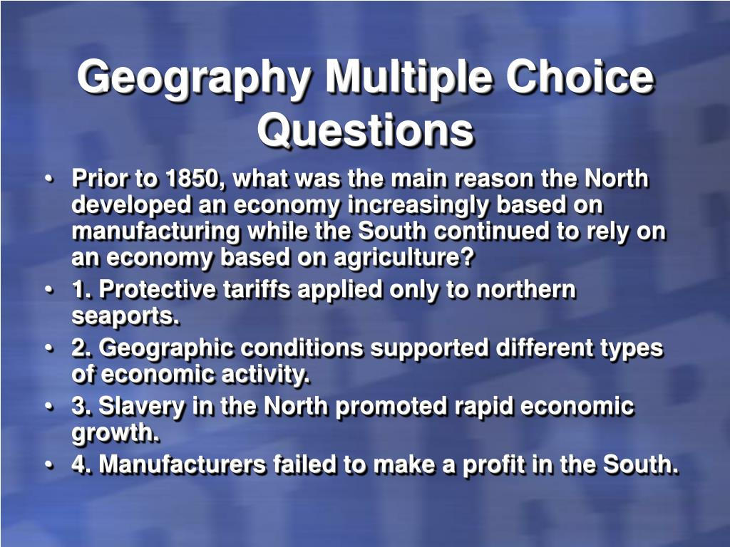 Geography Multiple Choice Questions