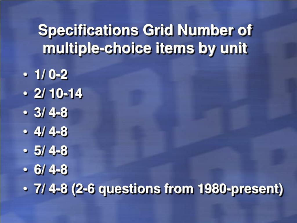 Specifications Grid Number of