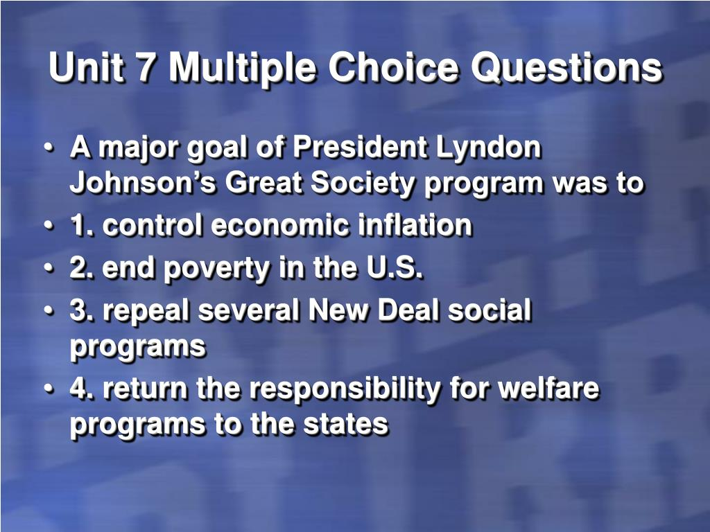 Unit 7 Multiple Choice Questions