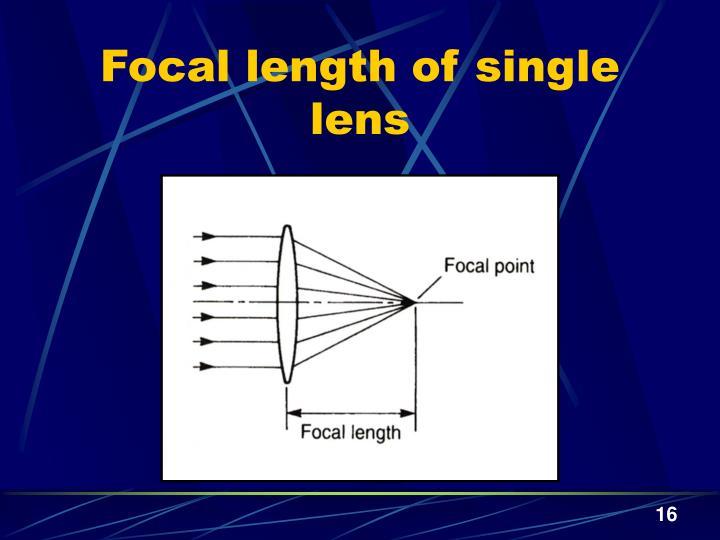 Focal length of single lens