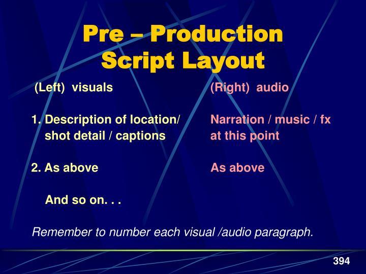 Pre – Production