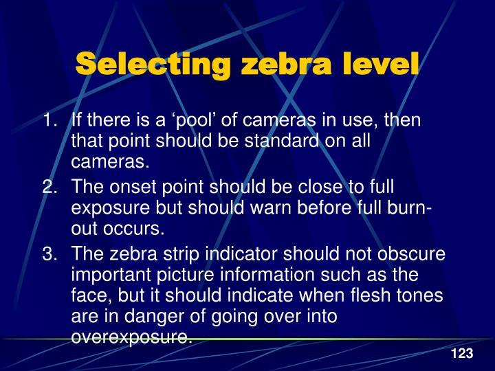 Selecting zebra level