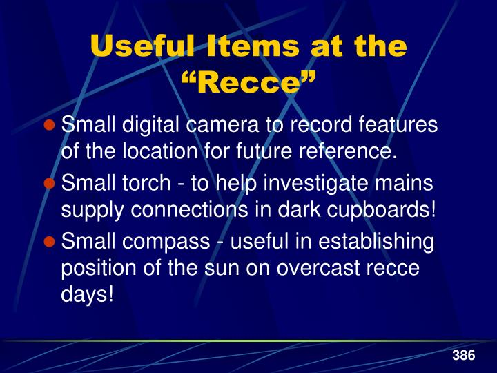 """Useful Items at the """"Recce"""""""