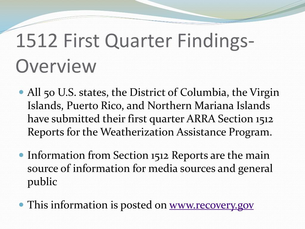 1512 First Quarter Findings-