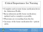critical importance for nursing