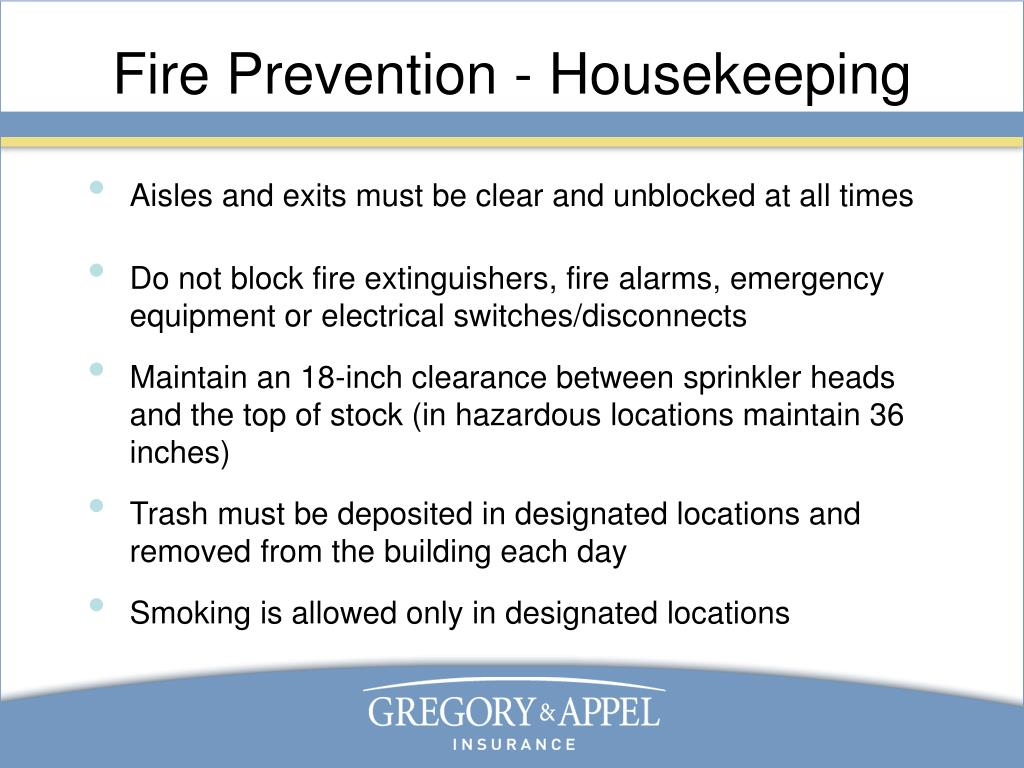 Fire Prevention - Housekeeping
