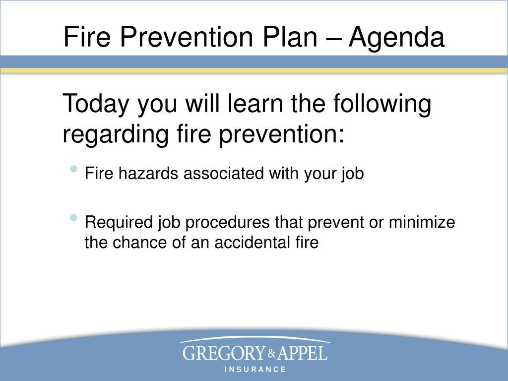 Fire Prevention Plan – Agenda