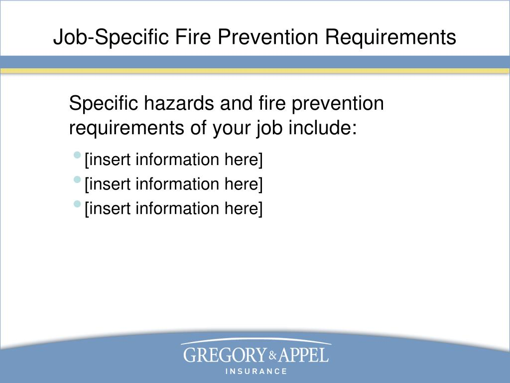 Job-Specific Fire Prevention Requirements