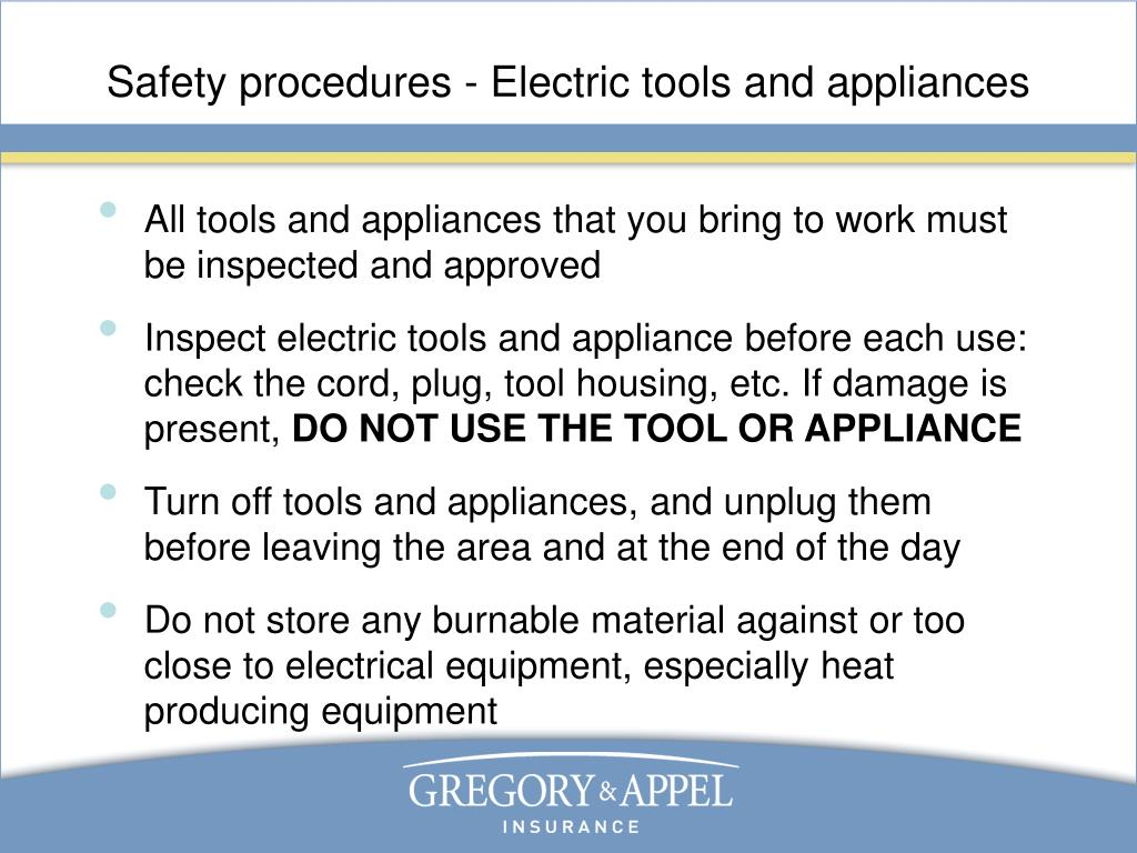 Safety procedures - Electric tools and appliances