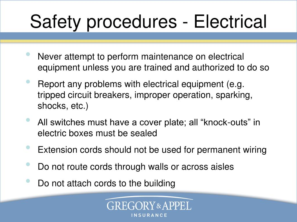 Safety procedures - Electrical