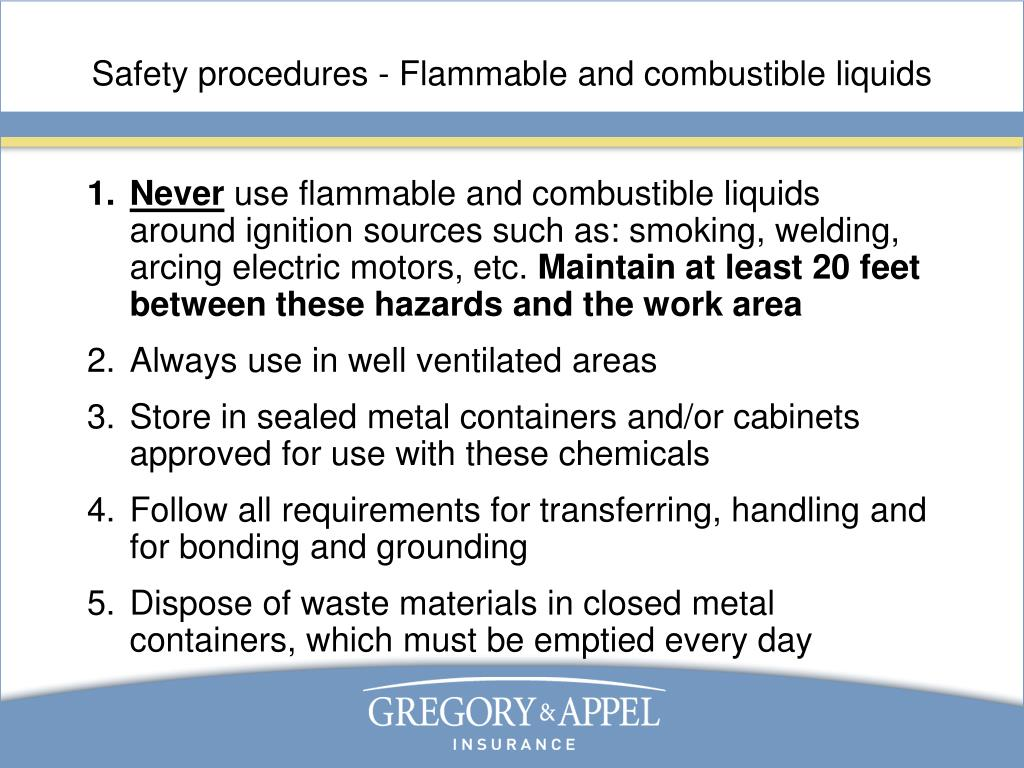 Safety procedures - Flammable and combustible liquids