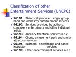 classification of other entertainment services uncpc