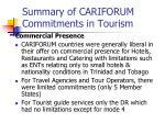 summary of cariforum commitments in tourism