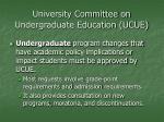 university committee on undergraduate education ucue