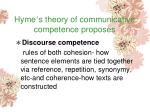 hyme s theory of communicative competence proposes89