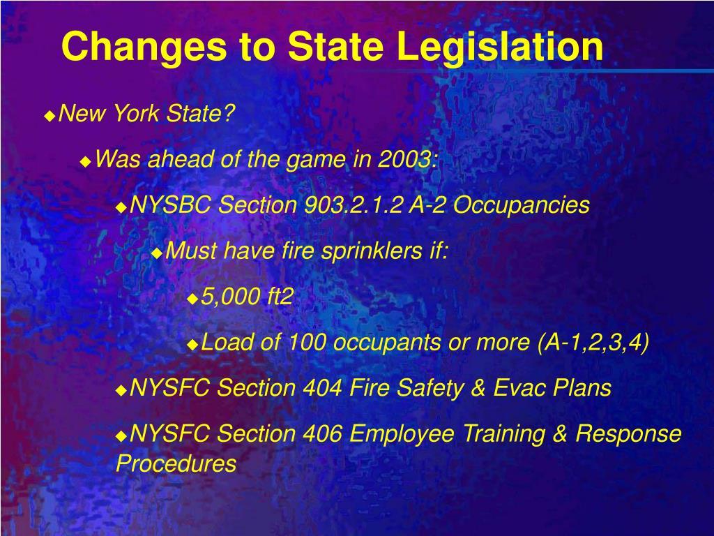 Changes to State Legislation