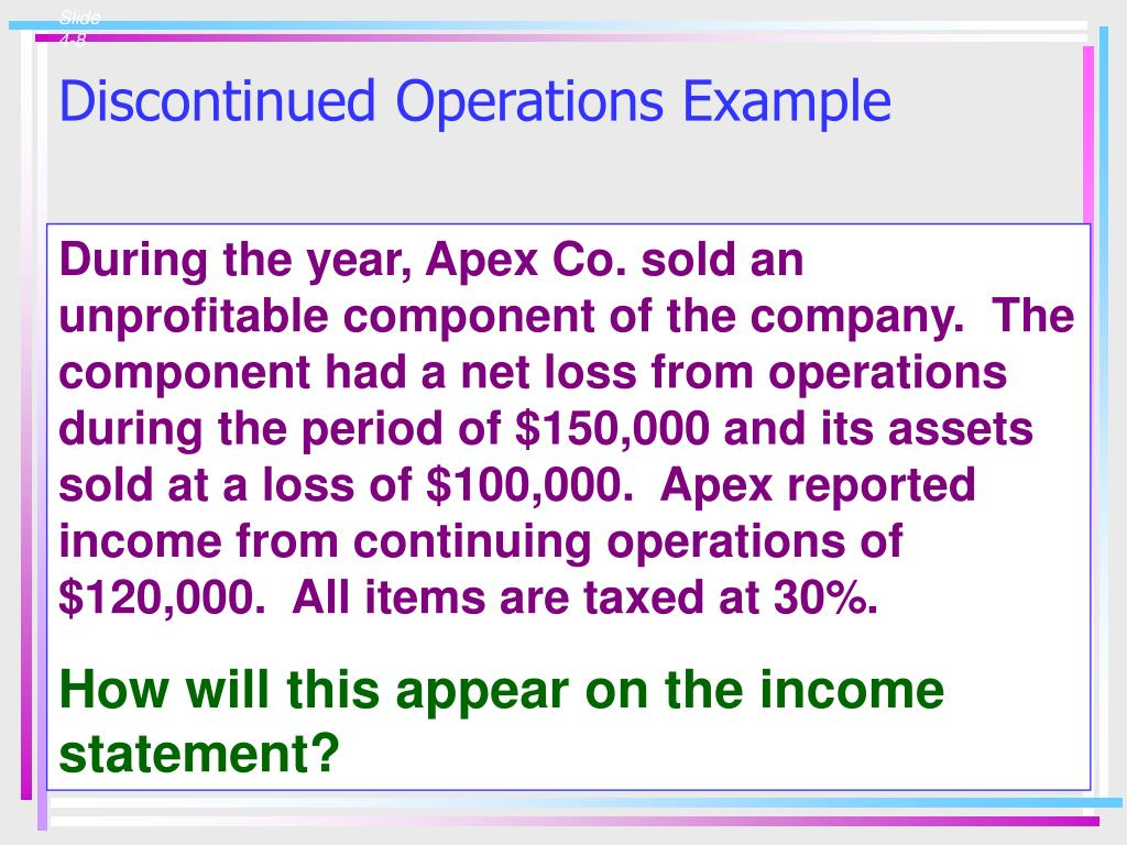 Discontinued Operations Example