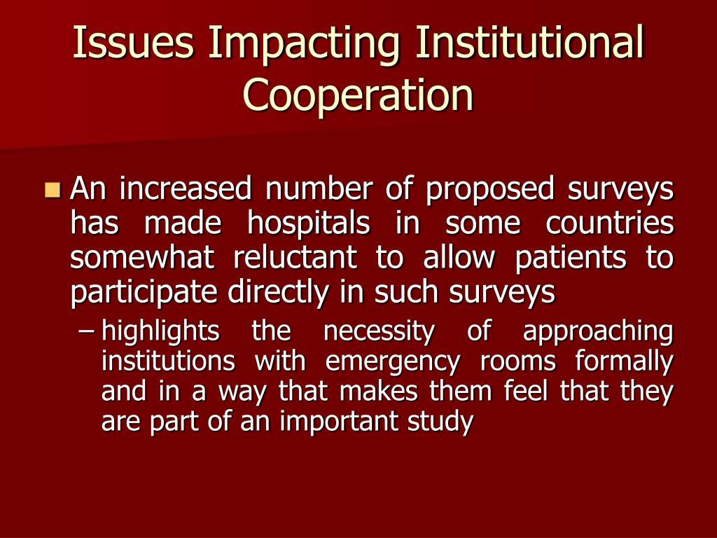 Issues Impacting Institutional Cooperation
