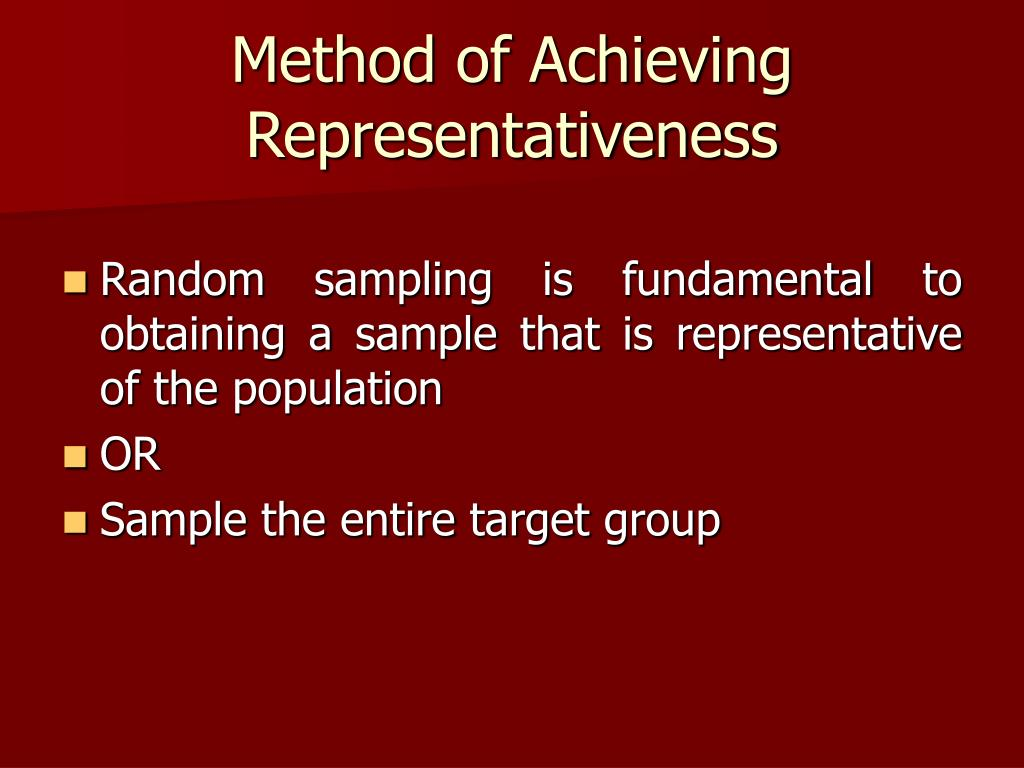 Method of Achieving Representativeness