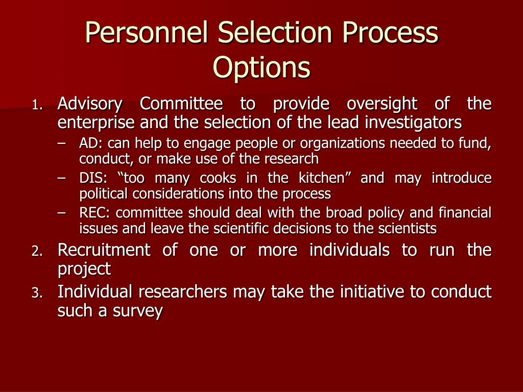 Personnel Selection Process Options