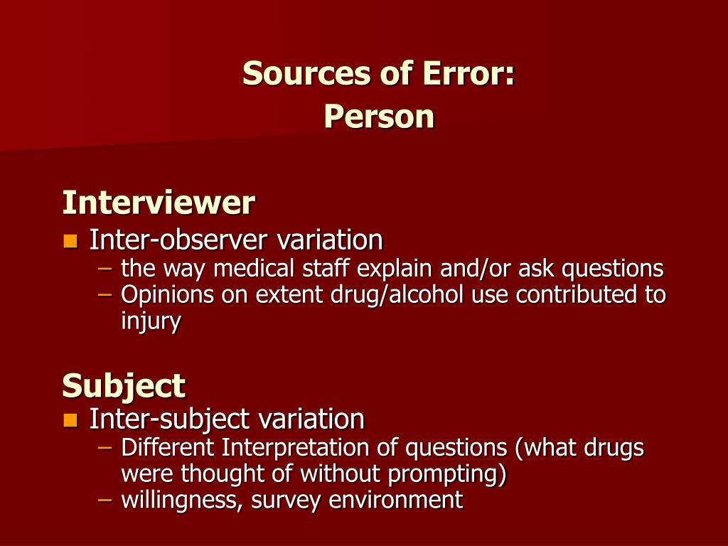 Sources of Error:
