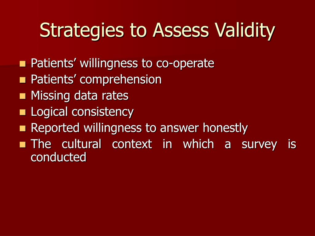 Strategies to Assess Validity