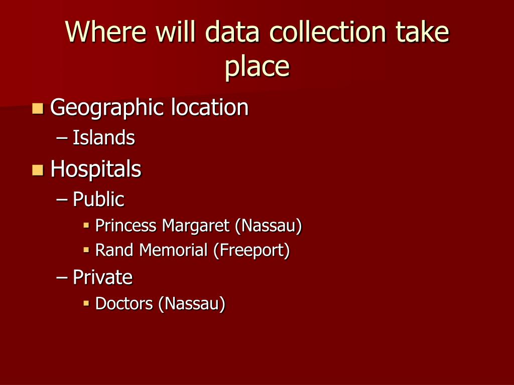Where will data collection take place
