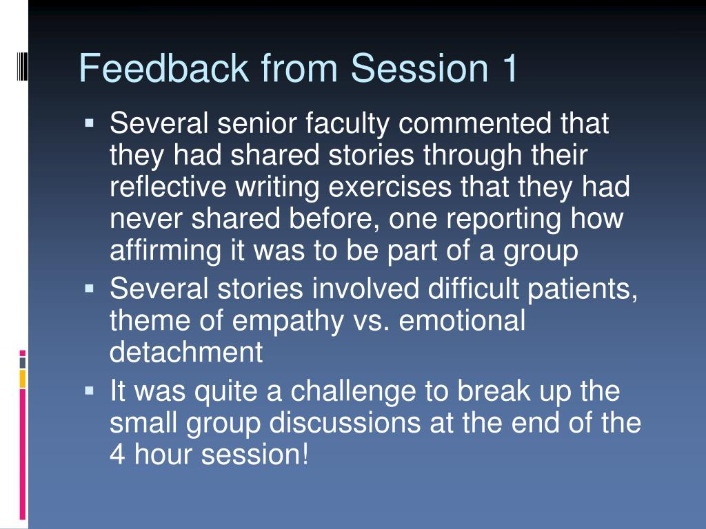 Feedback from Session 1