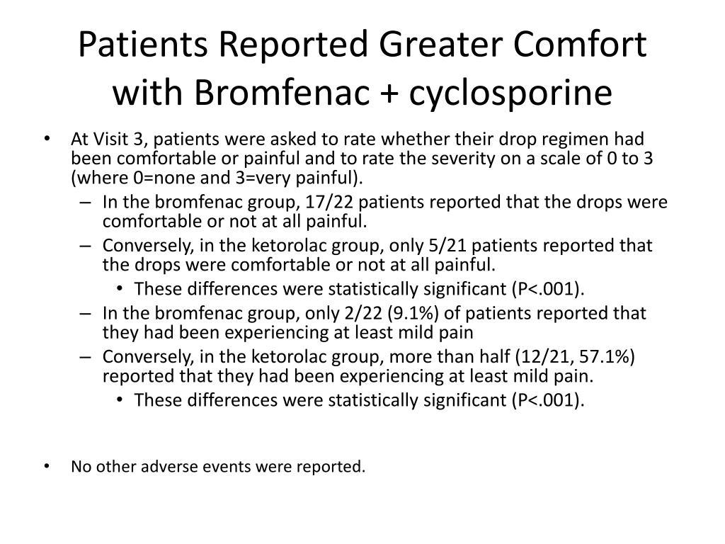 Patients Reported Greater Comfort with Bromfenac + cyclosporine