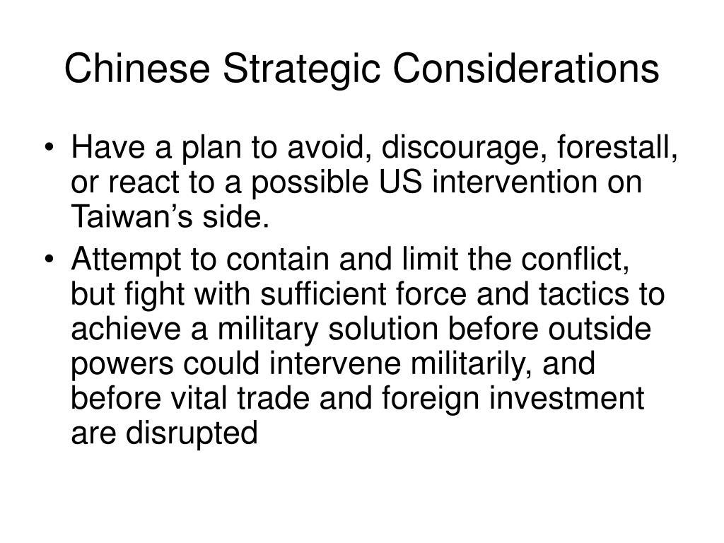 Chinese Strategic Considerations