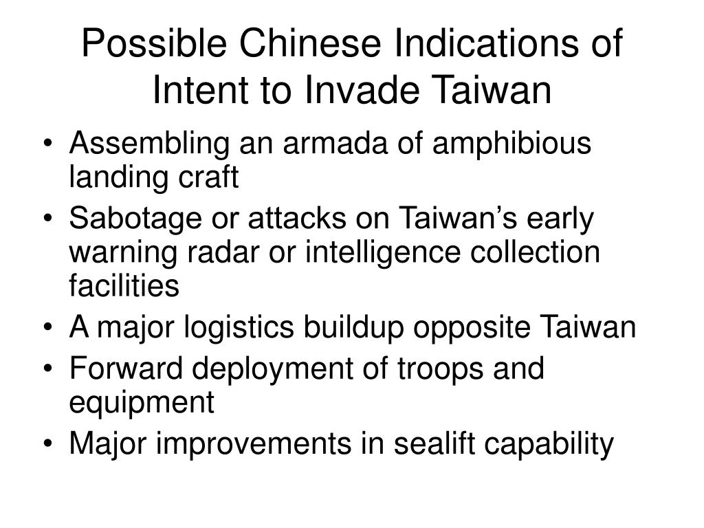 Possible Chinese Indications of Intent to Invade Taiwan