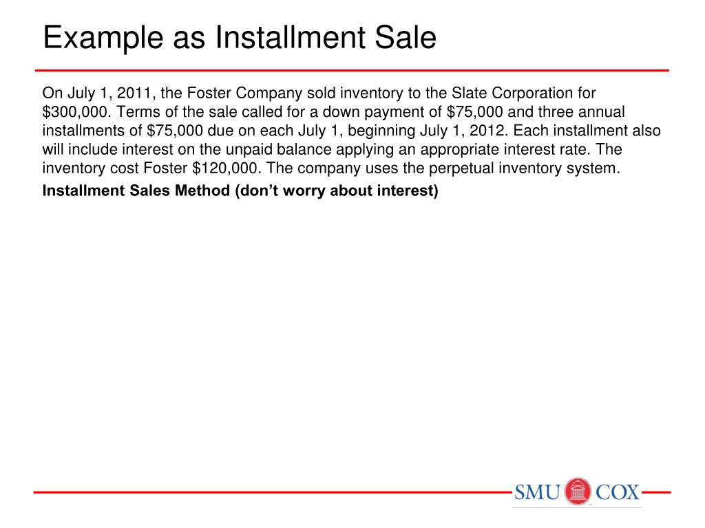 Example as Installment Sale