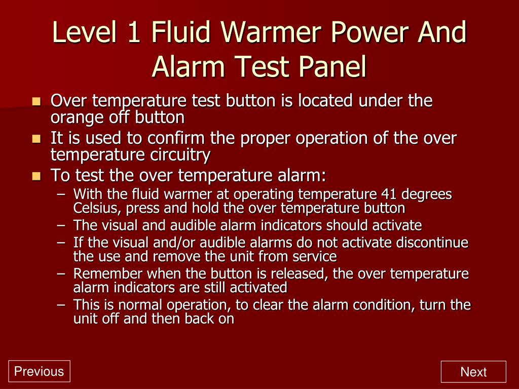 Level 1 Fluid Warmer Power And Alarm Test Panel