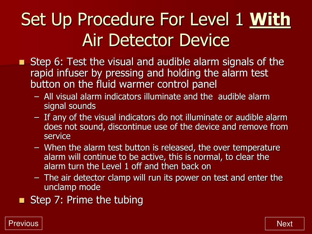 Set Up Procedure For Level 1
