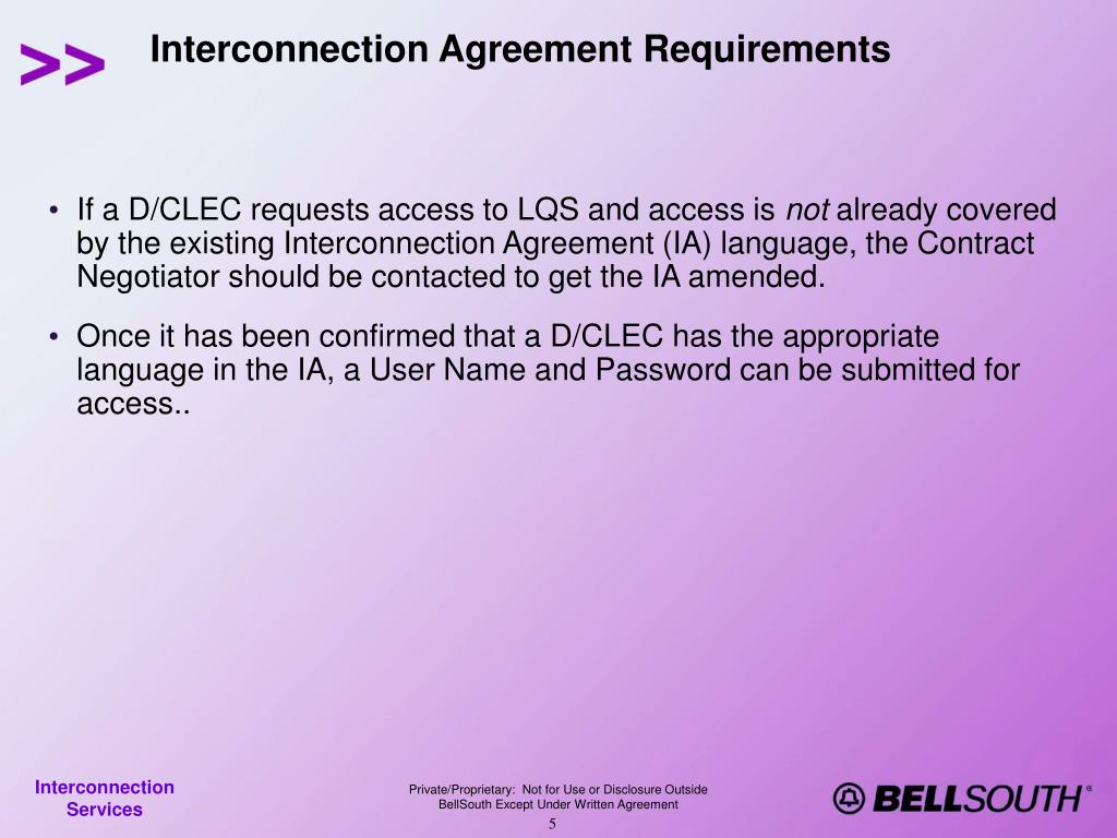 Interconnection Agreement Requirements