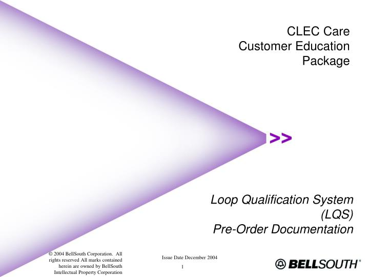 Loop qualification system lqs pre order documentation