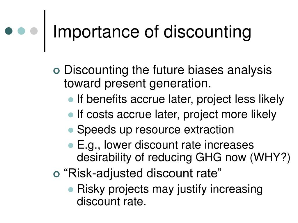 Importance of discounting