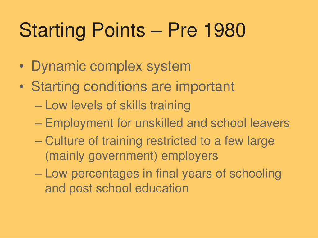 Starting Points – Pre 1980