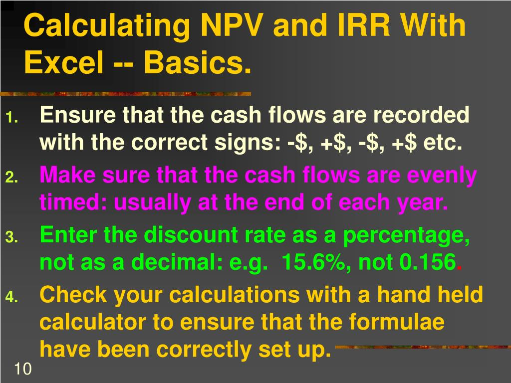Calculating NPV and IRR With Excel -- Basics.