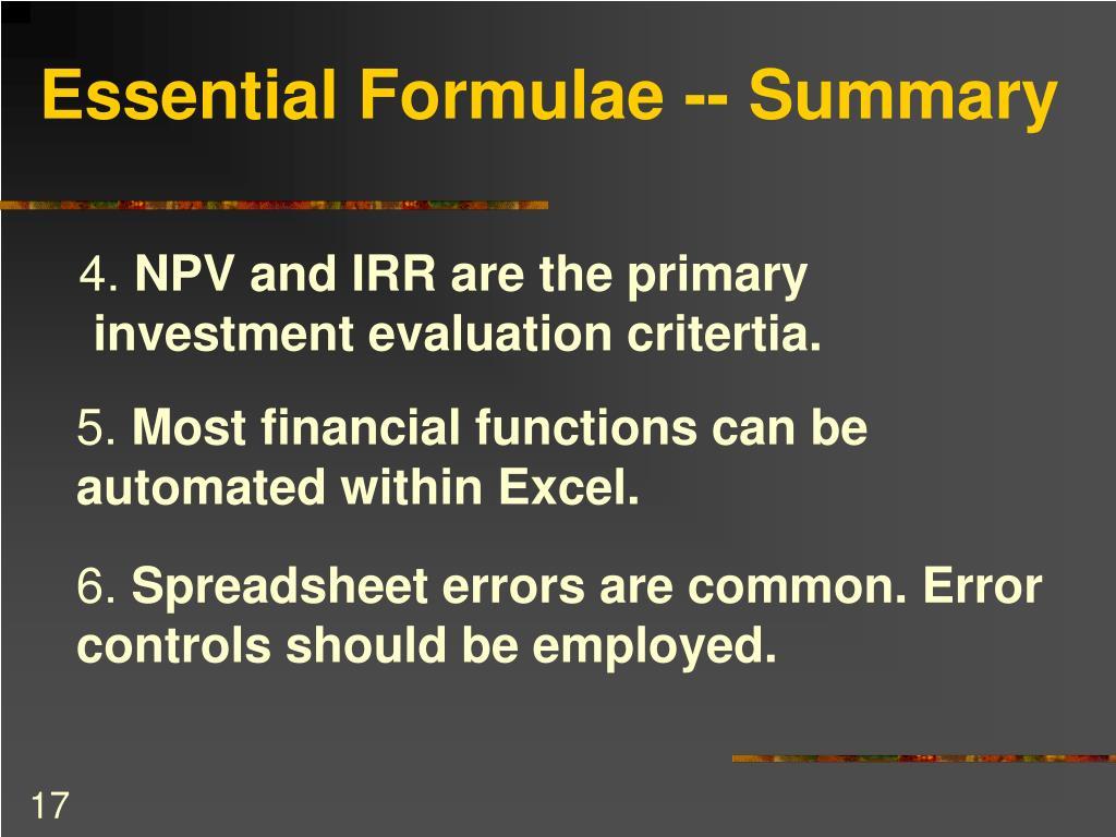 Essential Formulae -- Summary