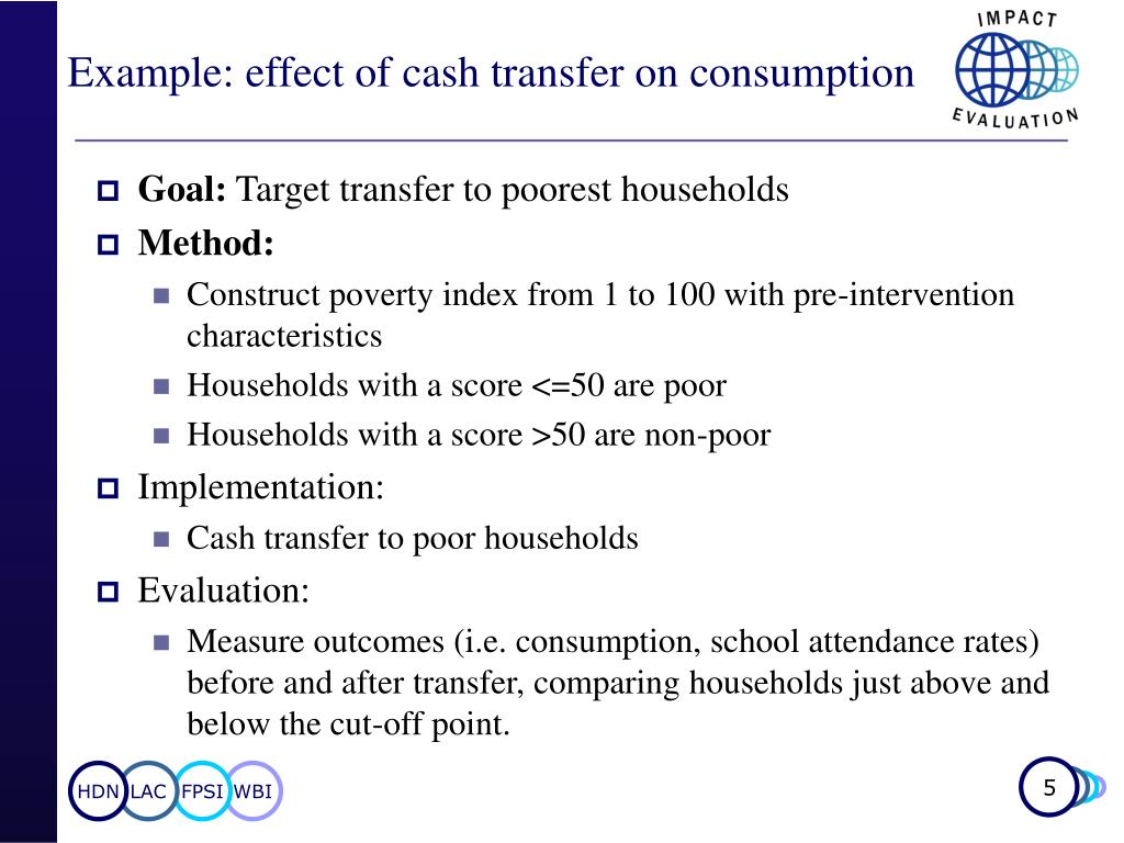 Example: effect of cash transfer on consumption