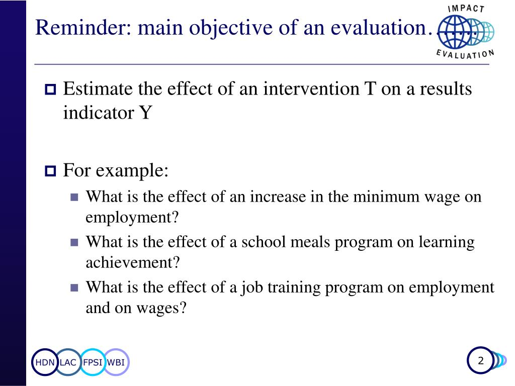 Reminder: main objective of an evaluation