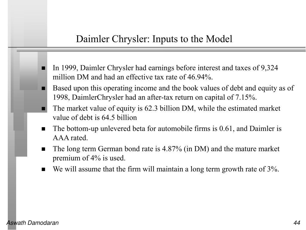Daimler Chrysler: Inputs to the Model